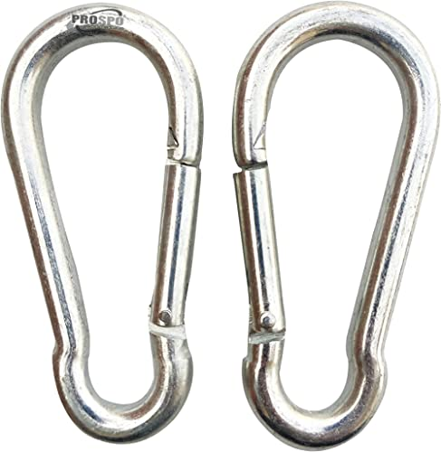 PROSPO M8x100mm Stainless Steel Spring Snap Hook Carabiner/Hook Swing Connector/Heavy Duty Multipurpose (Silver) - Pa...