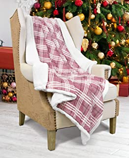 Plaid Sherpa Throw Blanket,Plush Flannel Throws for Couch and Bed,Super Soft Reversible TV Blanket,Comfy Caring Gift 50