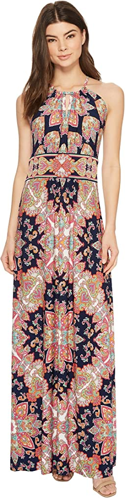 Floral Medallion Keyhole Halter Dress