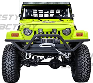 Restyling Factory 97-06 Jeep Wrangler Black Tubular TJ Rock Crawler Front Bumper with Winch Mount Plate (Black)