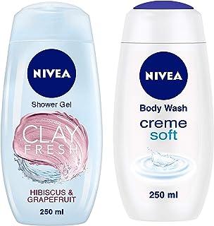 NIVEA Shower Gel, Fresh Hibiscus & Grapefruit Clay Body Wash, Women, 250ml & NIVEA Shower Gel, Crème Soft Body Wash, Wome...