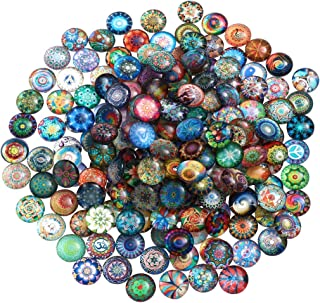 ULTNICE Glass Cabochons Mosaic Printed Glass Dome Cabochons Mosaic Tiles for Crafts 200pcs