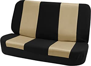 FH Group FB102010 Classic Cloth Bench Seat Covers Beige/Black Color- Universal Car, Truck, SUV, or Van