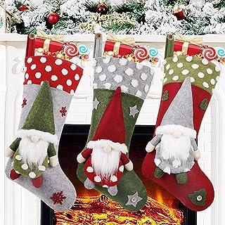 Christmas Stocking 3 Pack, 19 Inch 3D Gnomes Santa Christmas Stockings Fireplace Hanging Stockings for Family Christmas Decoration Xmas Character Holiday Season Party Decor
