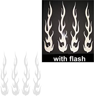 White Hot Rod Fire Tribal Flame Ignite Flames Retro 3M Reflective Reflector Decal Sticker 1