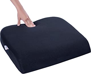 FOVERA Tri-Foam Seat Cushion to Prevent the Back, Sciatica & Tailbone Pain - Ideal for Long Sitting Hours (XL - Above 100kg, Black Mesh)