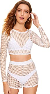 Women's Sexy 2 Pieces Fishnet Crop Top with Shorts Outfit Set