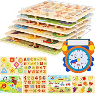 Wooden Toddler Puzzles and Rack Set - (6 Pack) Bundle with Storage Holder Rack and Learning Clock - Kids Educational Preeschool Peg Puzzles for Children Babies Boys Girls - Alphabet Numbers Zoo Cars