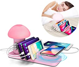 BTU Fast Wireless Charging Station Organizer for Multiple Devices with Quick Charge QC 3.0 - LED Children Night Light Kids Mushroom Lamp Charging Dock Organizer, 3 USB Port Fast Charger Block