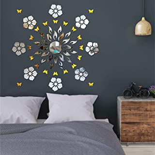 Best Decor Sun Flame 8 Flower Silver with 20 Butterfly Golden Code 512 Acrylic Mirror 3D Wall Sticker Decoration for Kids ...