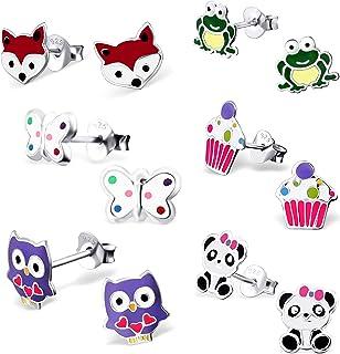 925 Sterling Silver (SET OF 6 Pair) Assorted Cuties Animals & Cupcake Stud Earrings (Nickel Free) 29130