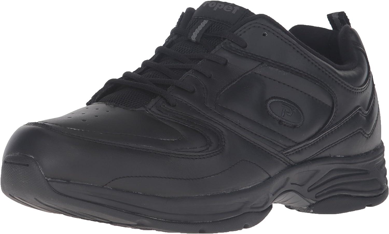 Propet Men's Warner Sneakers, Black Leather, 9 M
