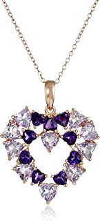 14k Rose Gold Plated Sterling Silver Genuine Brazilian and African Amethyst Open Heart Pendant Necklace, 18