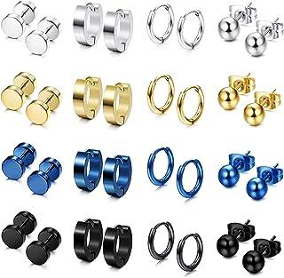 FIBO STEEL12 Pairs Stainless Steel Stud Earrings Hoop Earrings Set for Men Women Huggie Hoop Piercing Earring