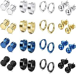 16 Pairs Stainless Steel Stud Earrings Hoop Earrings Set for Men Women Huggie Hoop Piercing Earring