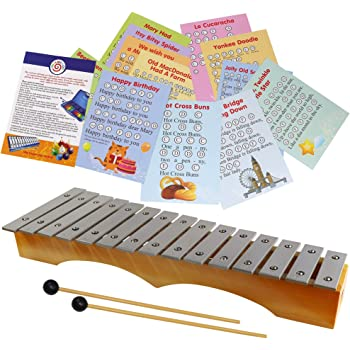 Professional Diatonic Glockenspiel 15 notes - Xylophone with 22 Easy Play Sheet Music Songs