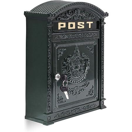 Briefkasten Englischer Postkasten zur Wandmontage gr/ün Nostalgie Antik Stil aus Aluguss Standarformat f/ür Brife bis Gro/ßbriefe