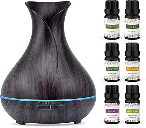 ASAKUKI Essential Oil Diffuser Bundle with Essential Oils Set, 400ml Aromatherapy Diffuser with Top 6 100% Pure Natur...