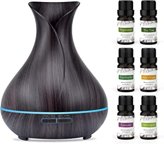 ASAKUKI Essential Oil Diffuser Bundle with Essential Oils Set, 400ml Aromatherapy Diffuser with Top 6 100% Pure Natural Es...