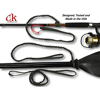 Campingandkayaking Made in The USA! NO Hook & Loop to Fail! Paddle Leash with a 2 Rod Leash Set, 3 Black Leashes Total Plus 1 Carabiner.