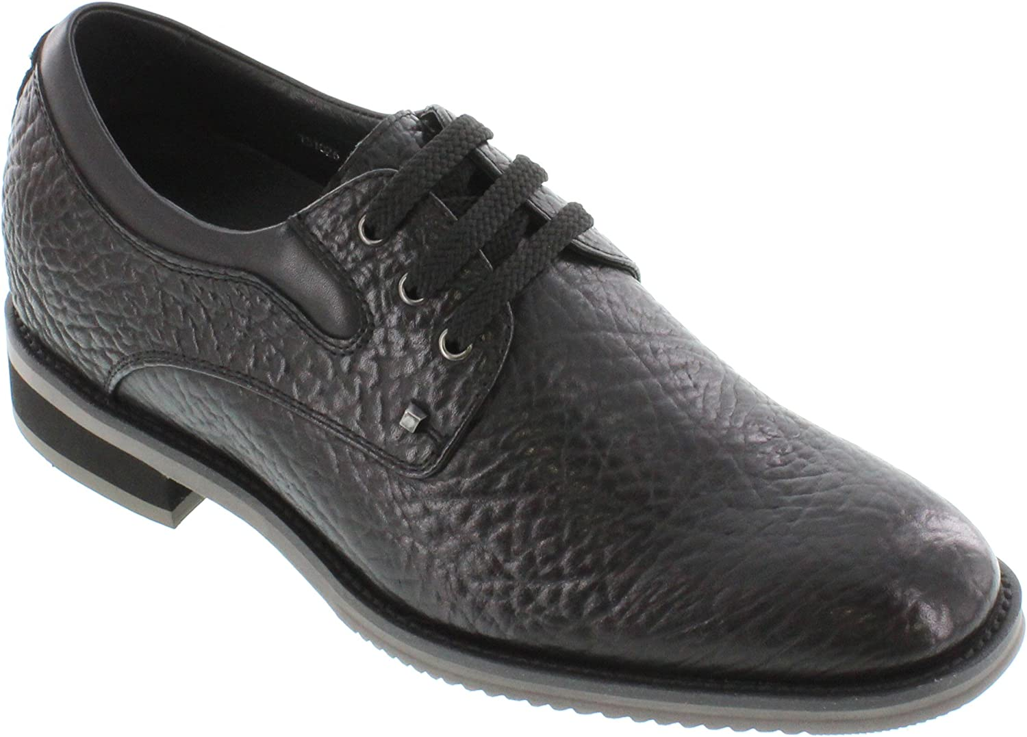 TOTO Men's Invisible Height Increasing Elevator Shoes - Black Tan Leather Lace-up Lightweight Casual Oxfords - 2.8 Inches Taller - H335081