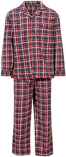 Mens Check Pattern Long Pyjamas Set Brushed Cotton Checkered Print Classic Lounge Nightwear Boys Striped Cotton Rich Long ...