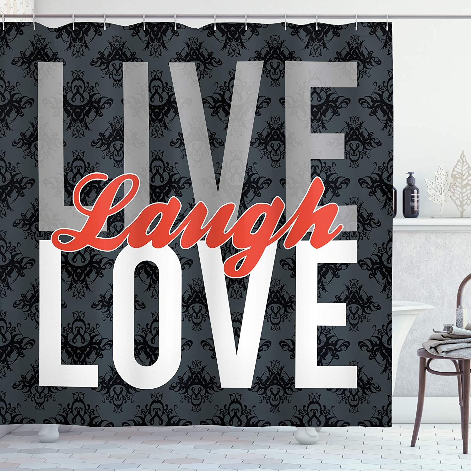 Purchase Ambesonne Live Laugh Love Shower Different Words Curtain Sacramento Mall Typed