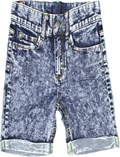 Bienzoe Girl's Adjustable Waist Cotton Stretchy Denim Shorts