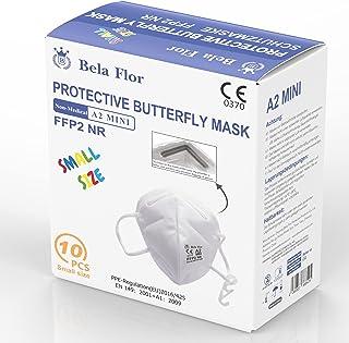 AUPROTEC 10 Stück FFP2 Maske Mini Größe S Atemschutzmaske EU CE 0370 Zertifiziert EN149:2001+A1:2009 Mundschutz 4 lagig mi...