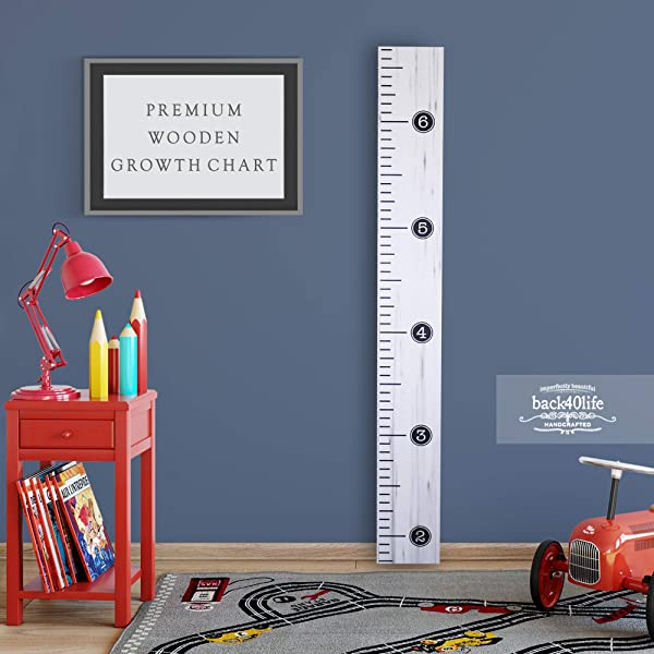 Back40Life Premium Series Distressed Typewriter Wooden Growth Chart Height Ruler Weathered White