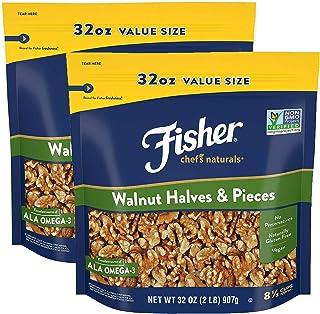 Fisher Chef's Naturals Walnut Halves & Pieces, 32 oz, Naturally Gluten Free, No Preservatives, Non-GMO (2 Pack)