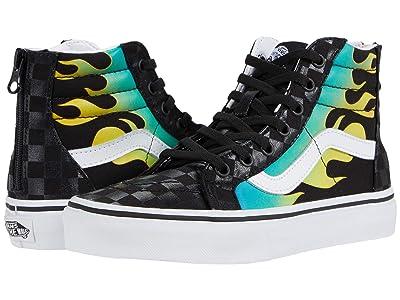 Vans Kids SK8-Hi Zip (Big Kid) ((Glow Flame) Black/True White) Boys Shoes