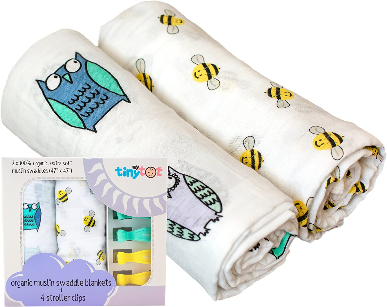 Organic Cotton Muslin Owl & Bee Swaddle Blanket   Ultra Soft   For Boys or Girls