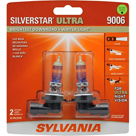 SYLVANIA - 9006 SilverStar Ultra - High Performance Halogen Headlight Bulb, High Beam, Low Beam and Fog Replacement Bulb, Brightest Downroad with Whiter Light, Tri-Band Technology (Contains 2 Bulbs), 9006SU.BP2
