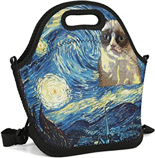 Heart Wolf Grumpy Cat Starry Night Insulated Lunch Bag Lunch Tote Reusable Lunch Bag