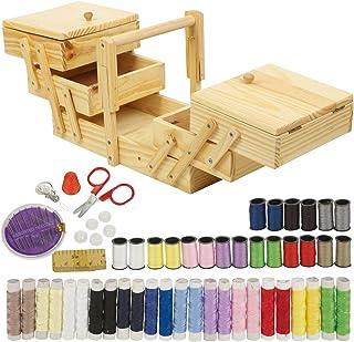 URBNLIVING - Kit de costura de 68 piezas y costurero de madera