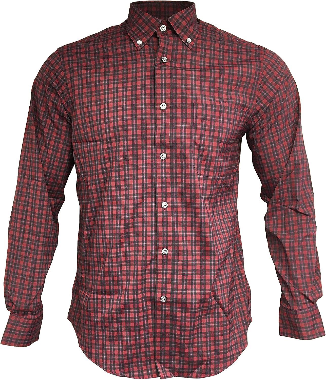 Nautica Men's Performance Active Stretch Long-Sleeve Button Down Shirt Casual Dress Shirts (L - 16 x 34/35, Dark Red Plaid)