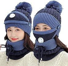 Small Conjunto de cachecol feminino de inverno com filtro, máscara de esqui, chapéu de malha espessa, capa de rosto para a...