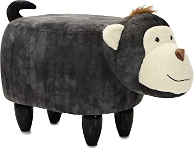 """Critter Sitters Dark 14"""" Seat Height Animal Gray Monkey-Super Soft Plush-Durable Legs-Furniture for Nursery, Bedroom, Playroom & Living Room-Décor Ottoman"""