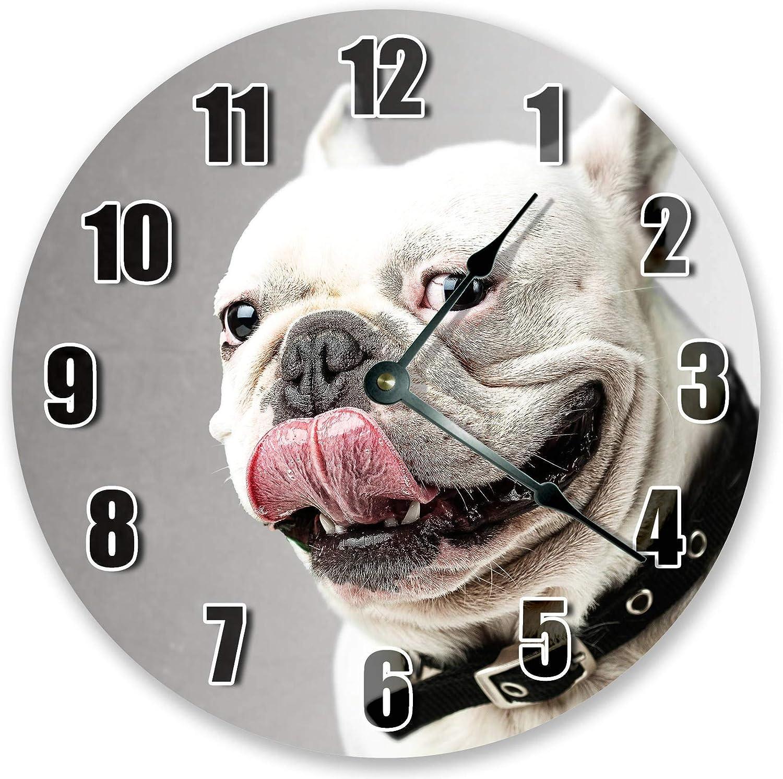 Bulldog FACE Clock Animal Clock Kids Clock Large Wooden Round Cl