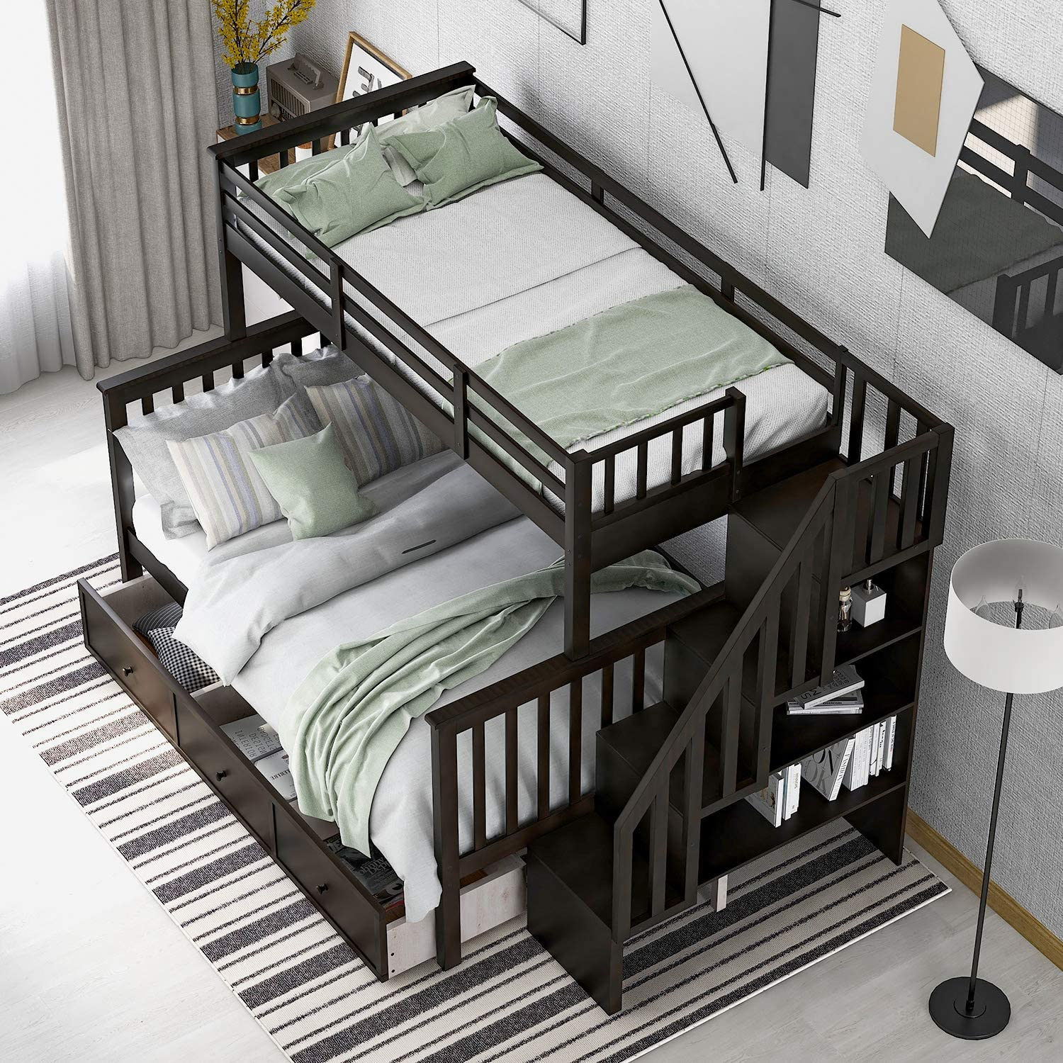 Buy Softsea Twin Over Full Bunk Bed With Stairs Drawers 4 Storage Length Guard Rail For Kids And Teenagers Espresso Stairway Bunk Bed No Box Spring Needed Espresso Online In Indonesia B08f9952mf