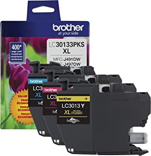 Brother Printer Genuine LC30133PKS 3-Pack High Yield Color Ink Cartridges, Page Yield Up to 400 Pages/Cartridge, Includes ...