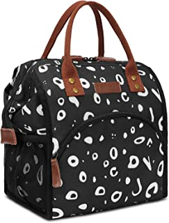 LOKASS Lunch Bag Insulated Lunch Box Wide-Open Lunch Tote Bag Large Drinks Holder Durable Nylon Thermal Snacks Organizer for Women Men Adults College Work Picnic Hiking Beach Fishing,Cow