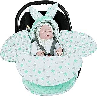 EliMeli Baby Einschlagdecke Babyschale Winter - Grün Mädchen Junge Decke Universal für Autositz, Kinderwagen Buggys und Babybett, Premium Qualität - Design Minky Mint - Mint Stars
