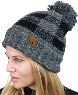 C.C Soft Stretch Pom Pom Fuzzy Lined Buffalo Plaid Cuff Beanie Hat