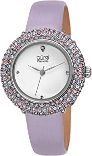 ساعة كوارتز للنساء من بورغي بشاشة عرض انالوج وسوار من الجلد، طراز BUR227LB