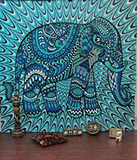 Handicrunch ndian Elephant Mandala Tapestry, Hippie Tapestries, Tapestry Wall Hanging, Indian Black & White Tapestry , Boh...