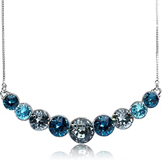 UPSERA Necklace for Women Mystical Peacock Colored Crystals from Swarovski Silver Tone Plated Fashion Jewelry, 18.7+2