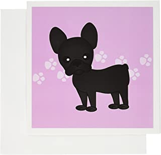 3dRose Greeting Cards, Cute Black Brindle French Bulldog Pink with Pawprints, Set of 6 (gc_25319_1)