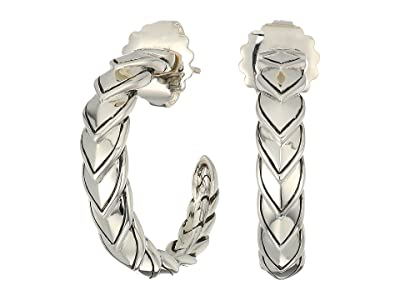 John Hardy Naga Small Hoop Earrings (Silver) Earring